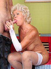 Dirty granny Francesca wears her sexy lingerie and goes for hardcore fucking with her young hottie