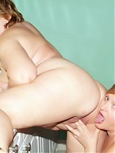 Anna and Yolanda are fat older gals having a explicit lesbian scene in the kitchen